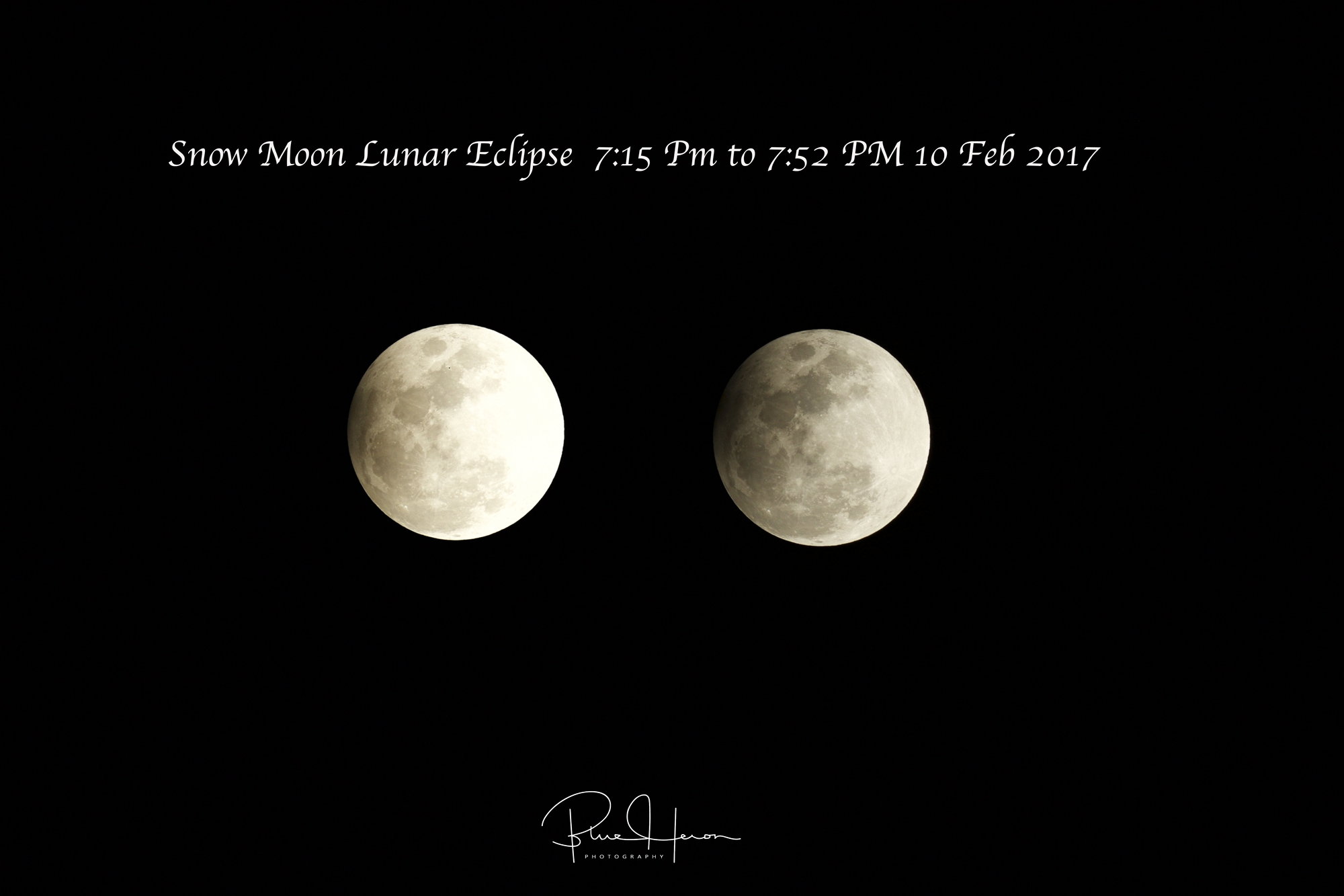 Snow Moon Lunar Eclipse peaked at 7:43PM Eastern..this series shows from 7:15 PM to 7:52 PM