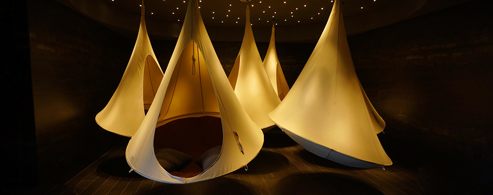 Relaxation pods at the Juicy Oasis, Portugal.