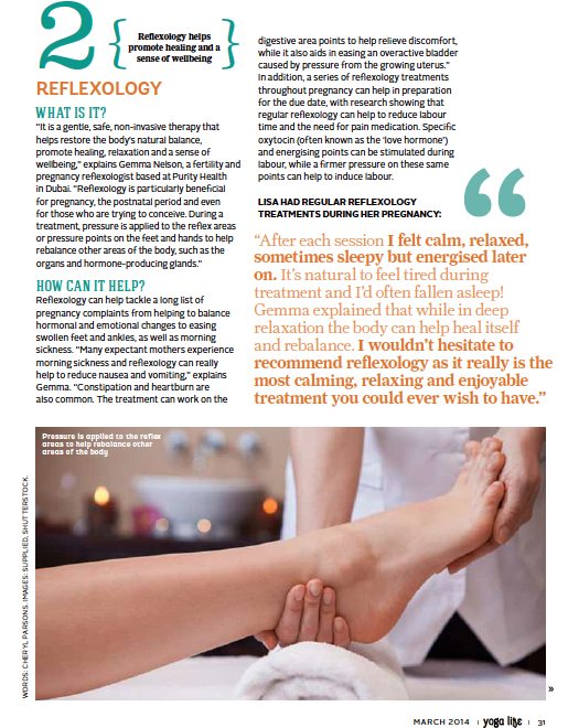 Gemma Nelson, Pregnancy & Fertility Reflexology www.purityhealth.org Dubai - Yoga Life article