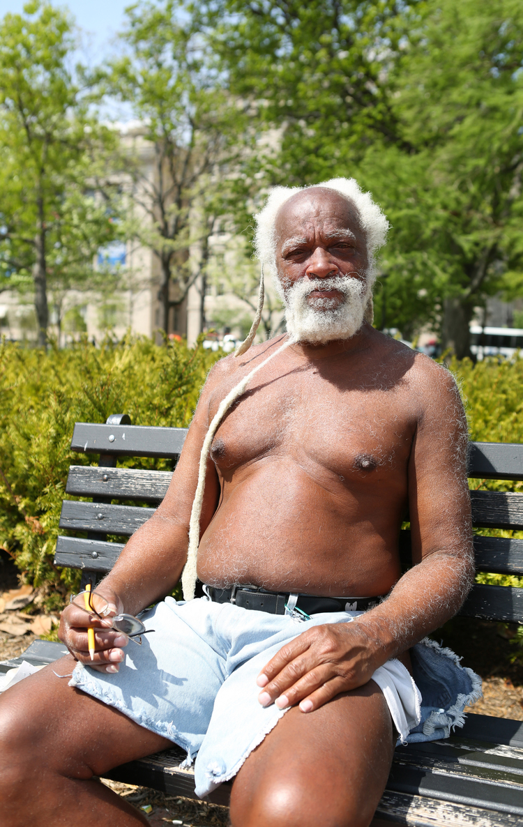 "Portrait of Elijah, who calls himself ""NatureBoy,"" taken near the White House in Washington, D.C."