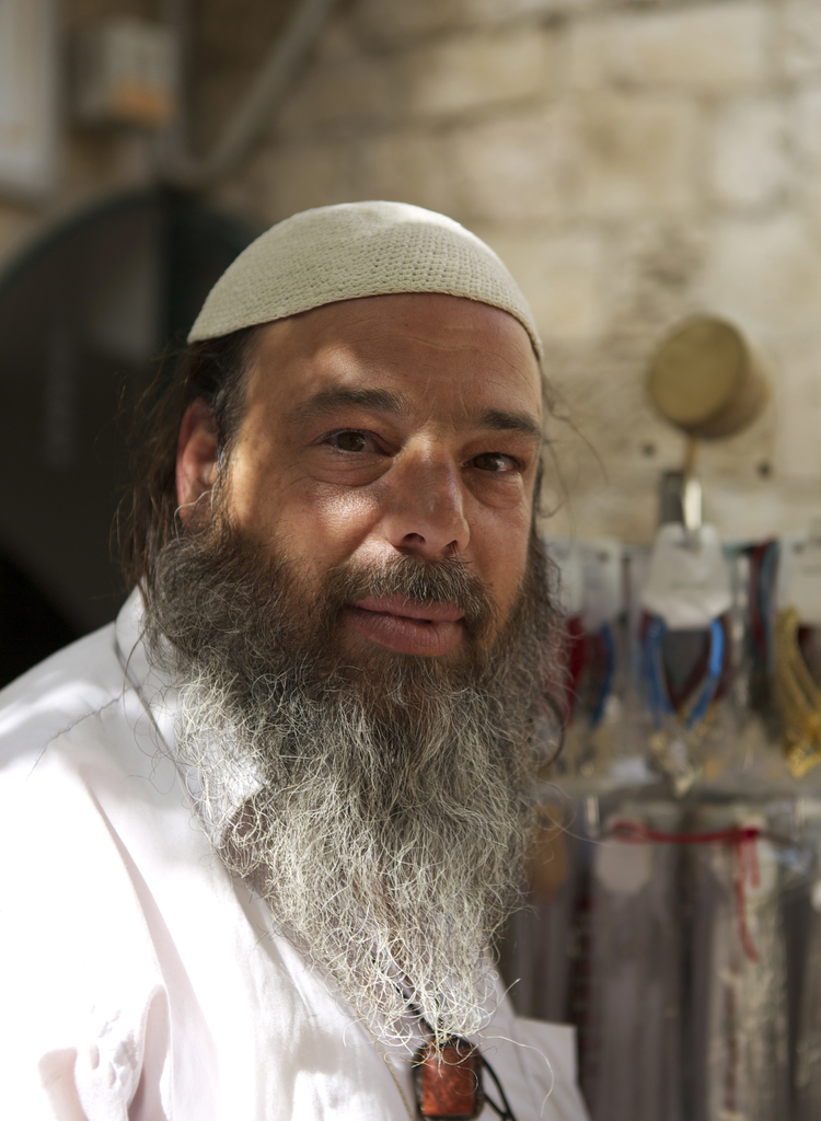 Portrait of a merchant in the Old City of Jerusalem, Israel.
