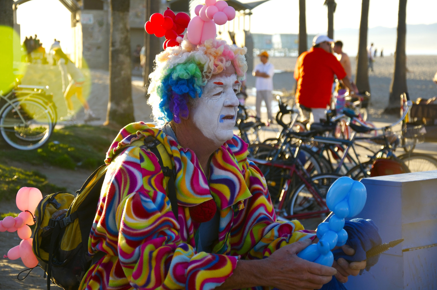 Portrait of a clown in Venice Beach, Los Angeles.