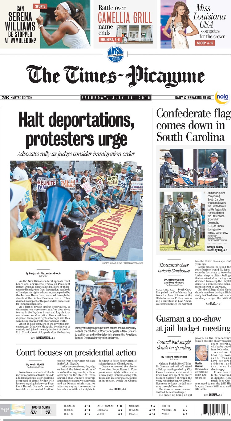 The Times-Picayune   Saturday, July 11, 2015