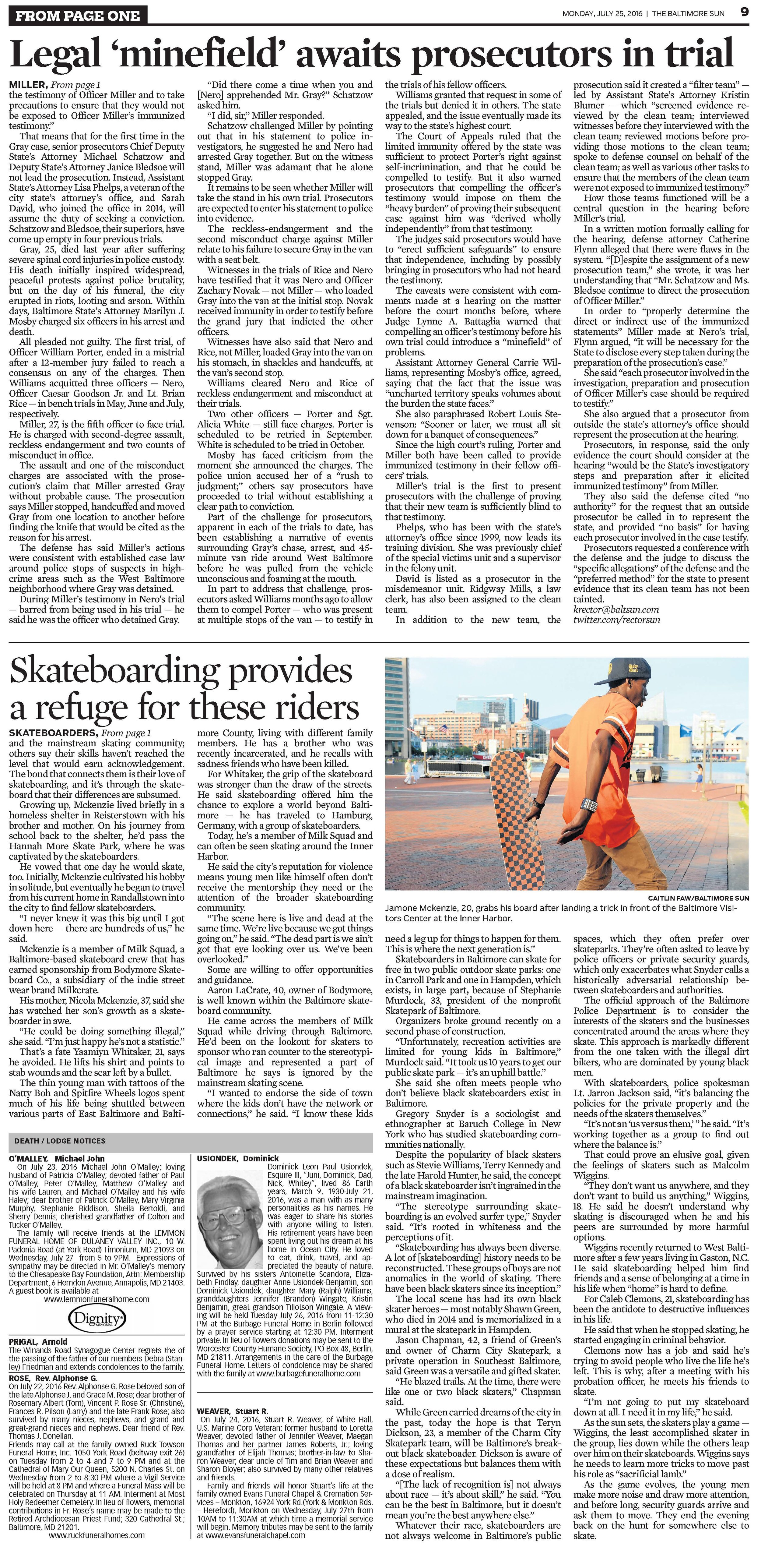 The Baltimore Sun   Monday, July 25, 2016