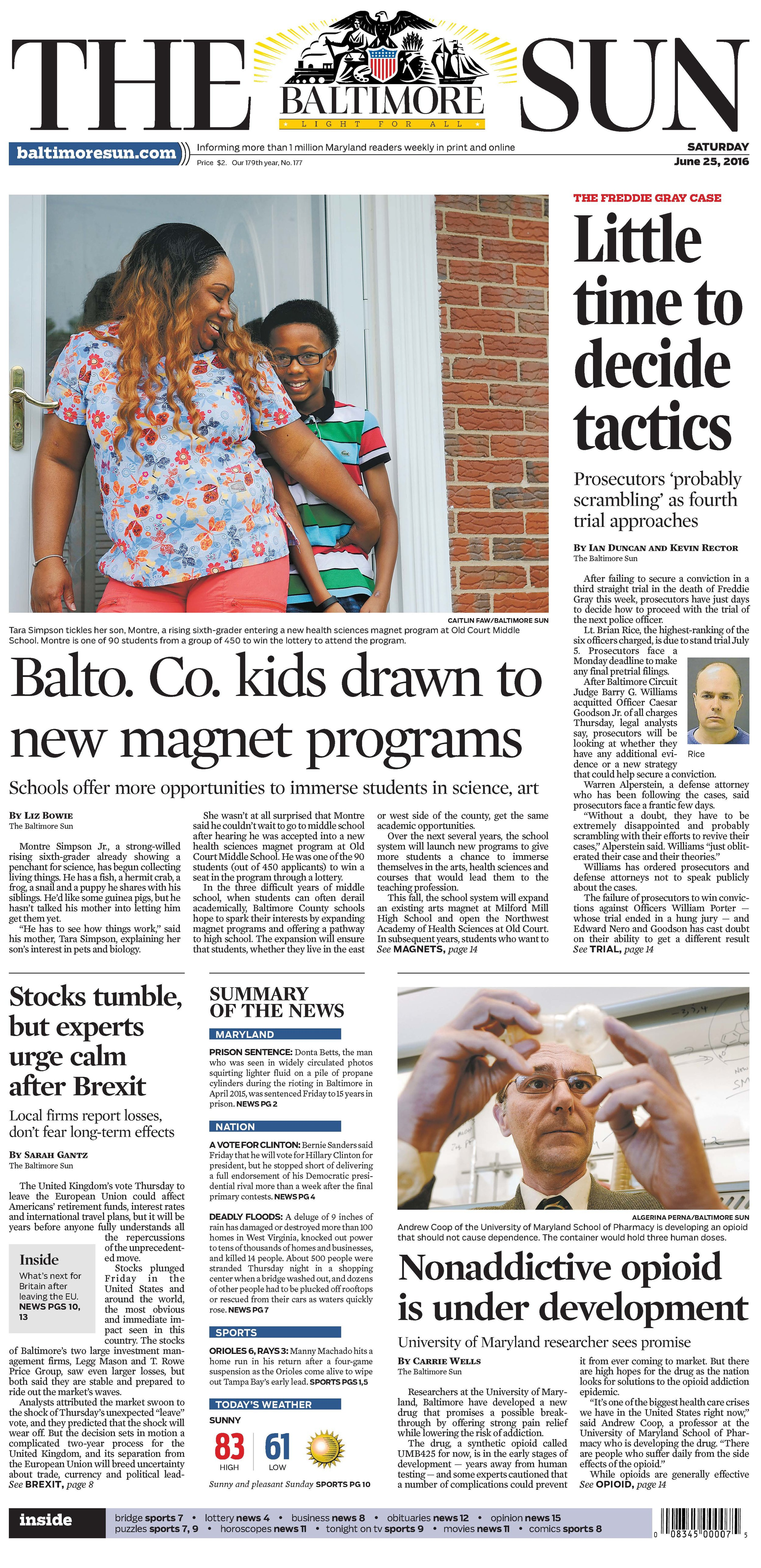 The Baltimore Sun   Saturday, June 25, 2016