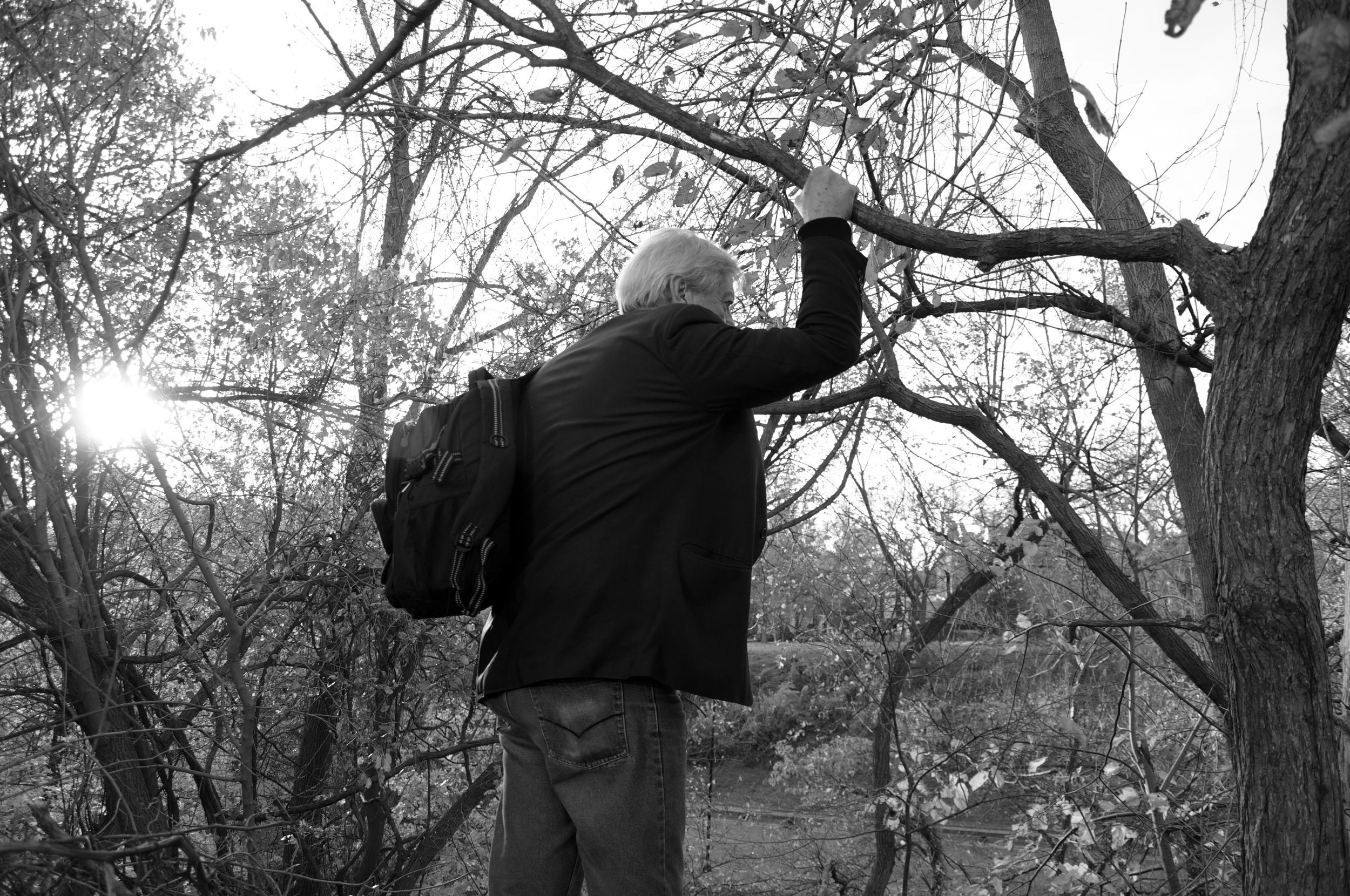 Dr. Anthony Martinez grabs onto a tree to steady himself as he looks around Rock Creek Park.