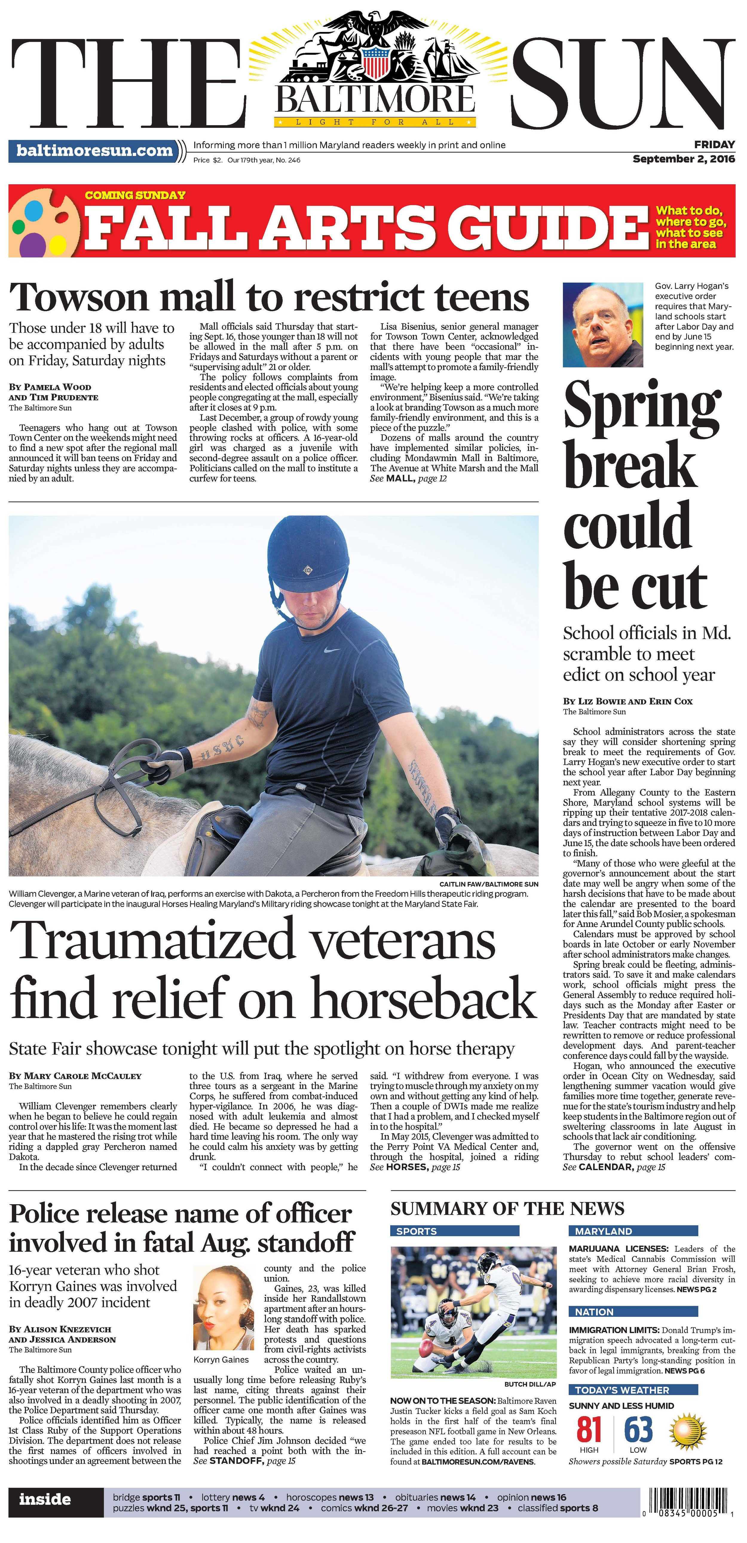 The Baltimore Sun   Friday, September 2, 2016