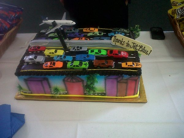 A cake made in honor of the Jet Blue flights from BUR to LAX during the first 405 Carmageddon, no lie.