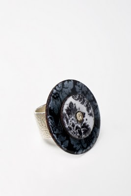 Enamel and sterling silver ring