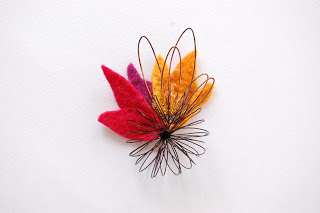 felt and copper brooch