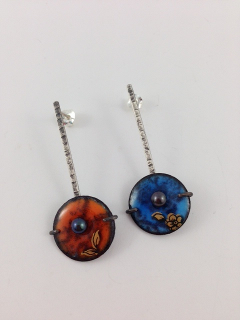 Lollipop earrings in orange and blue with lovely gold details