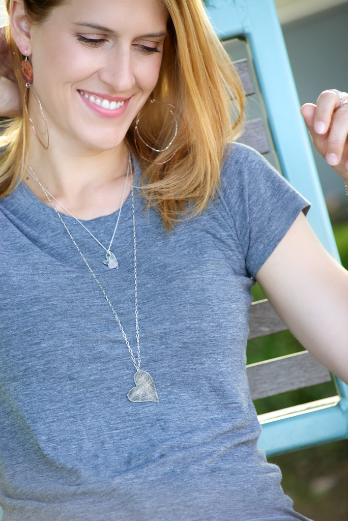 Scratched Up Heart Necklaces and Bold Copper Dangle Earrings