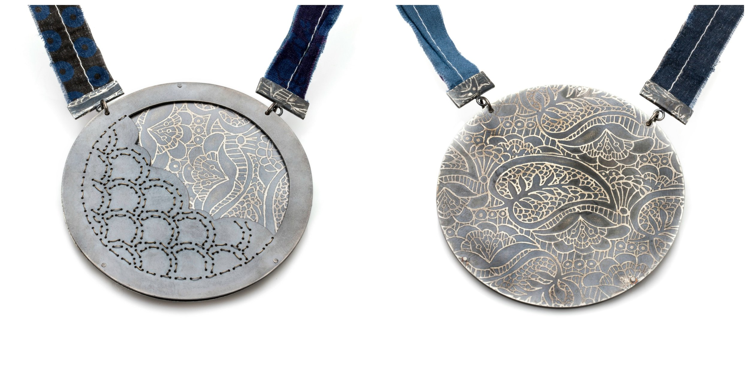 front and back of Sashiko stitched necklace, Simone Richmond.