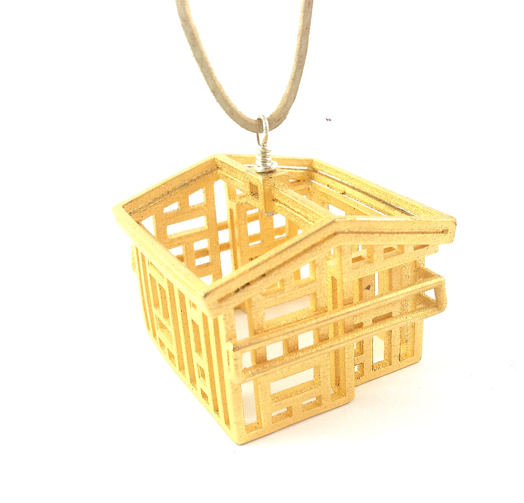 Vancouver Special House Necklace - wire frame version in gold steel.
