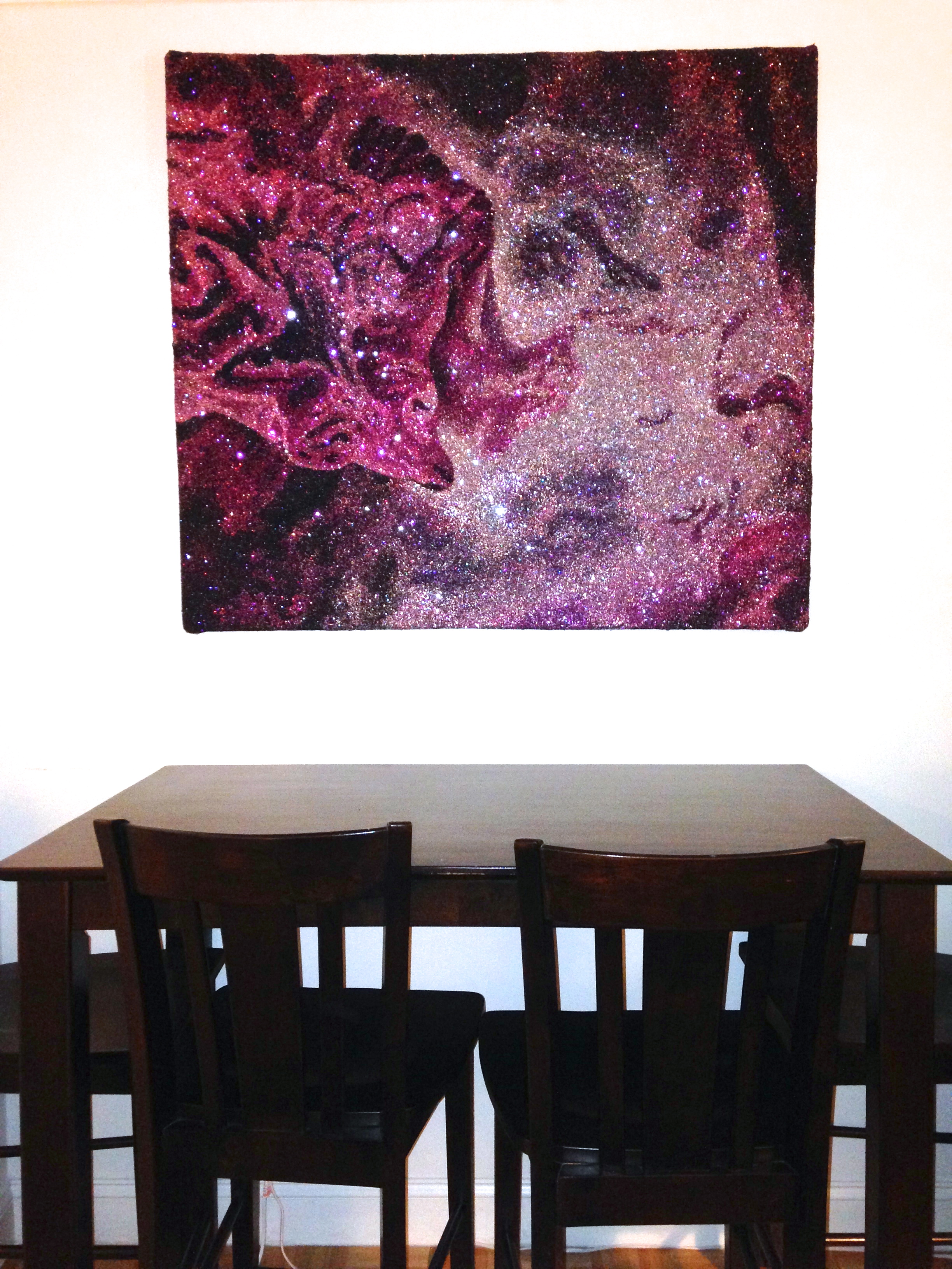 Newest addition to the Glitter Universe collection, which is currently on display in my dining room!  Fox Fur Nebula  45 x 45 inches Mixed Media (Glitter and Acrylic Gel Medium on Stretched Canvas) 2013