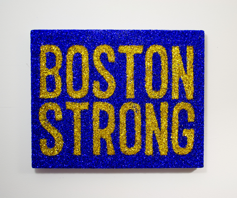 """Boston Strong""   Colored glitter and acrylic gel medium on panel  16"" x 20"""