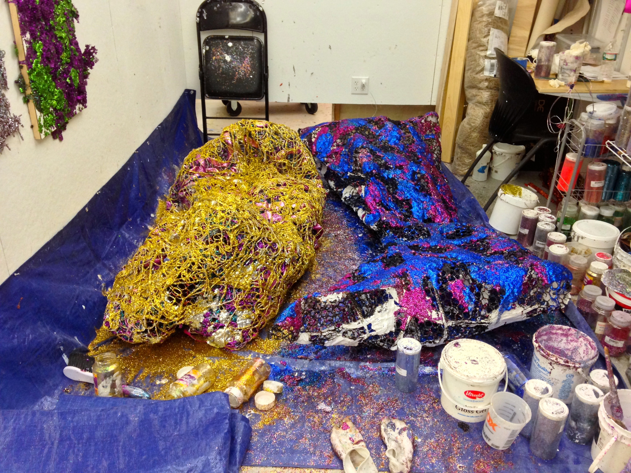 Sculptures in progress at my MFA studio in the Mission Hill building at the School of the Museum of Fine Arts, Boston.