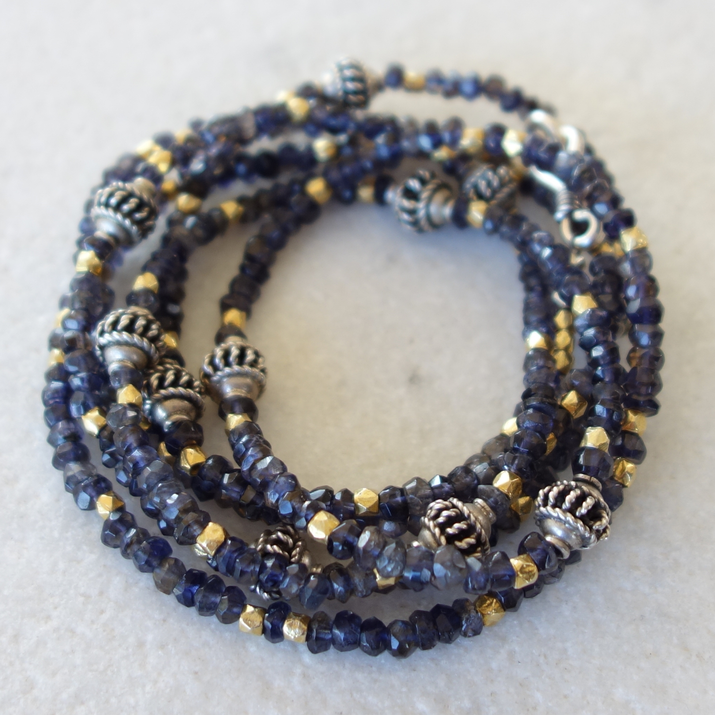 Iolite, silver and vermeil bracelet