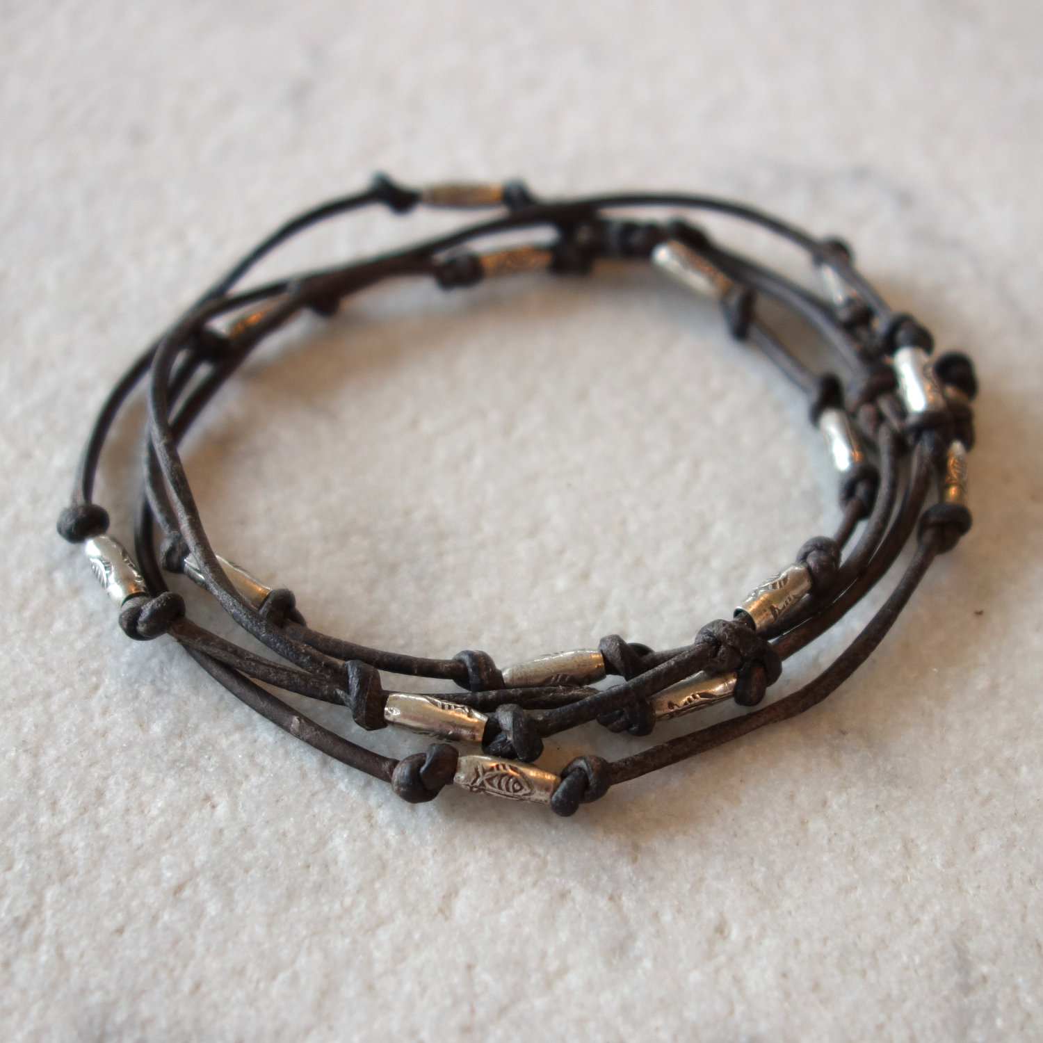 Thai silver and leather wrap around bracelet
