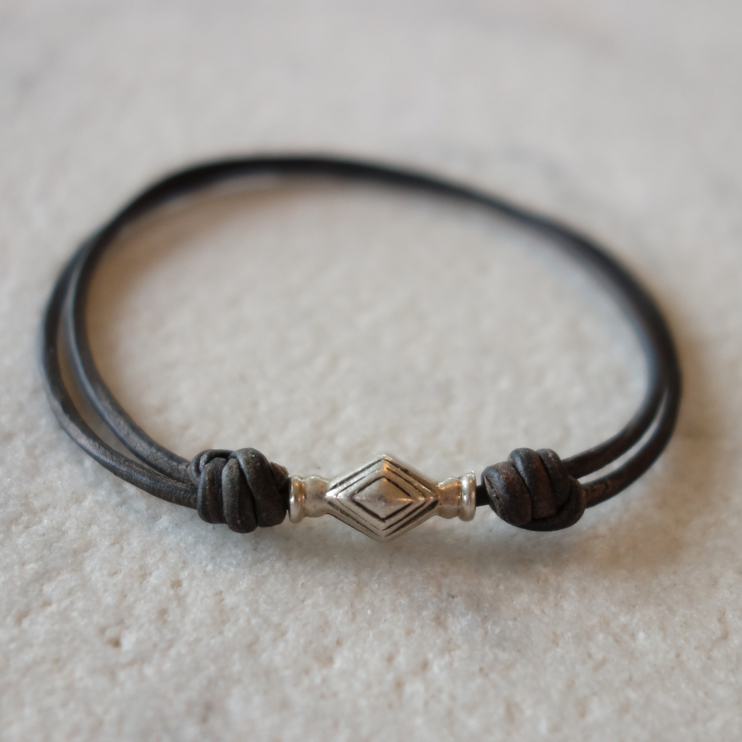Thai silver bead and leather bracelet