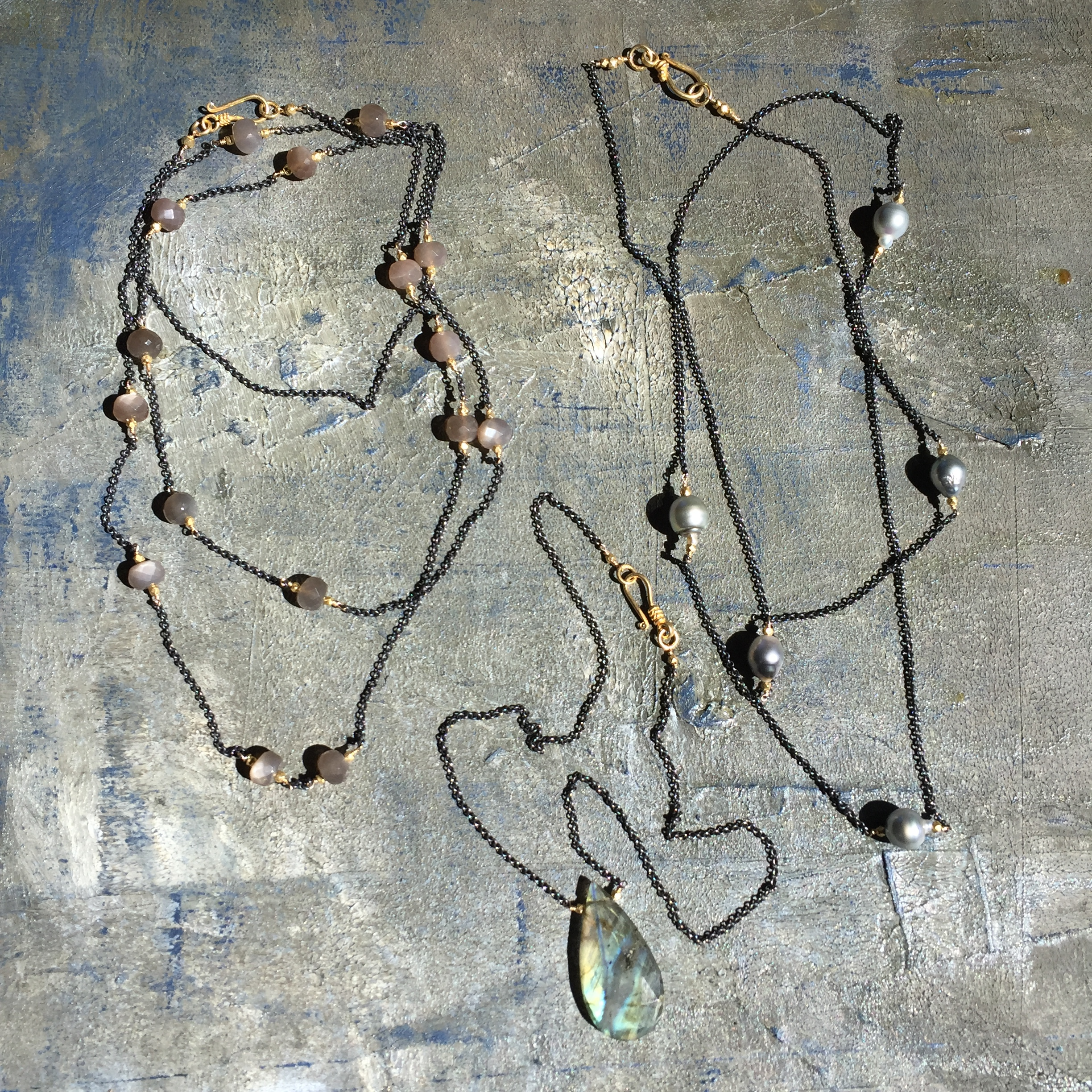 Oxidized silver, Brown moonstones, Labradorite and Tahitian pearls necklaces F/W 2016