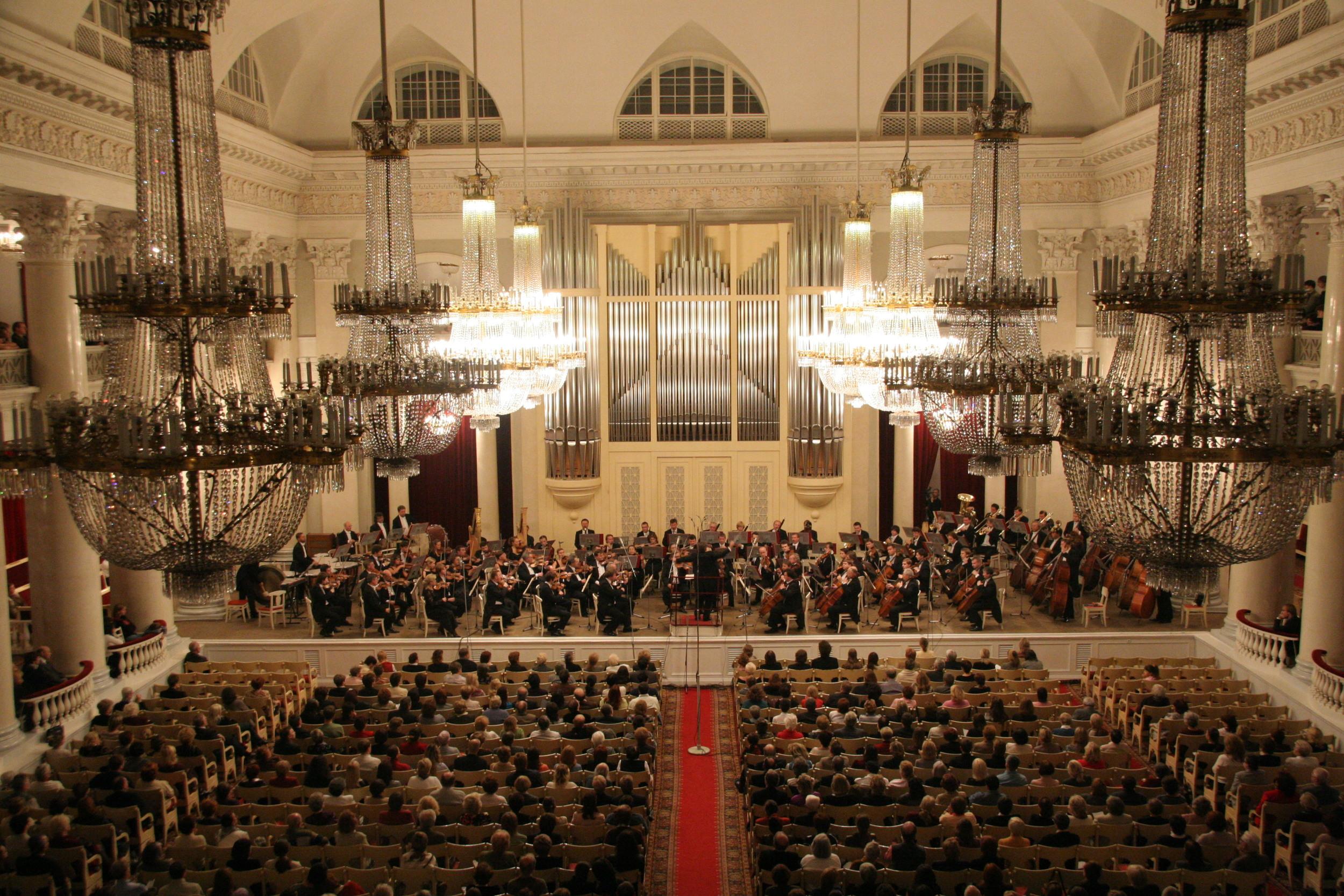 Grand Hall, St. Petersburg Philaharmonia. *Not my photo.