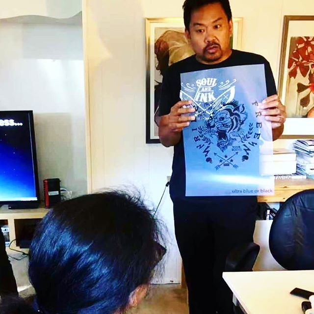 📷 Frankie showing second step - printed the design on acetate film