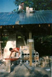 Louise at the kiln