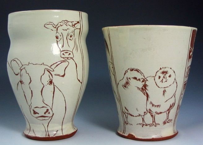 My first sgraffito and earthenware cups from 2008
