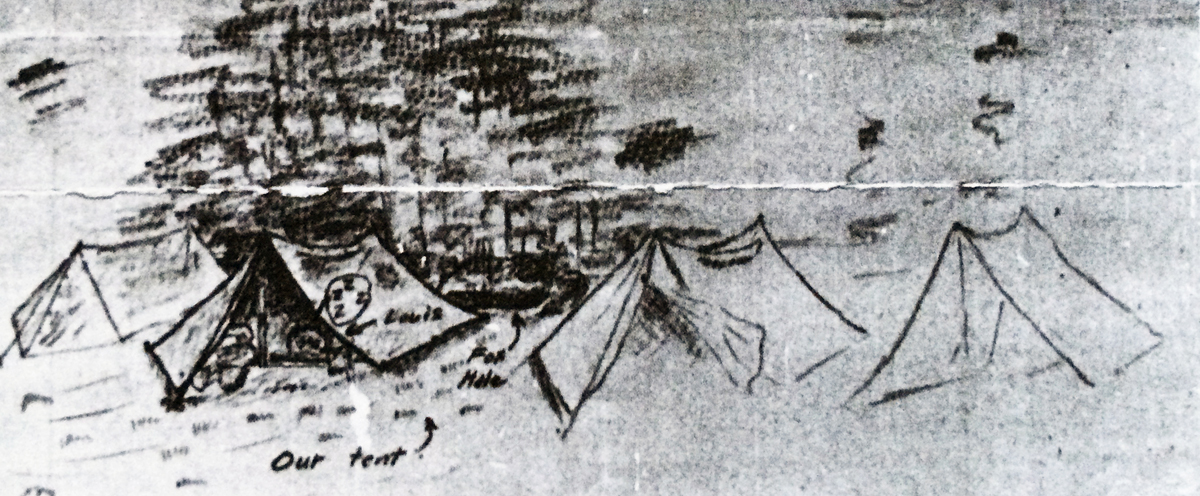 Bryan's sketch in a letter to his wife (one of 613 letters he and my grandmother exchanged during WWII) illustrating the dilemma of a tent with no front flap