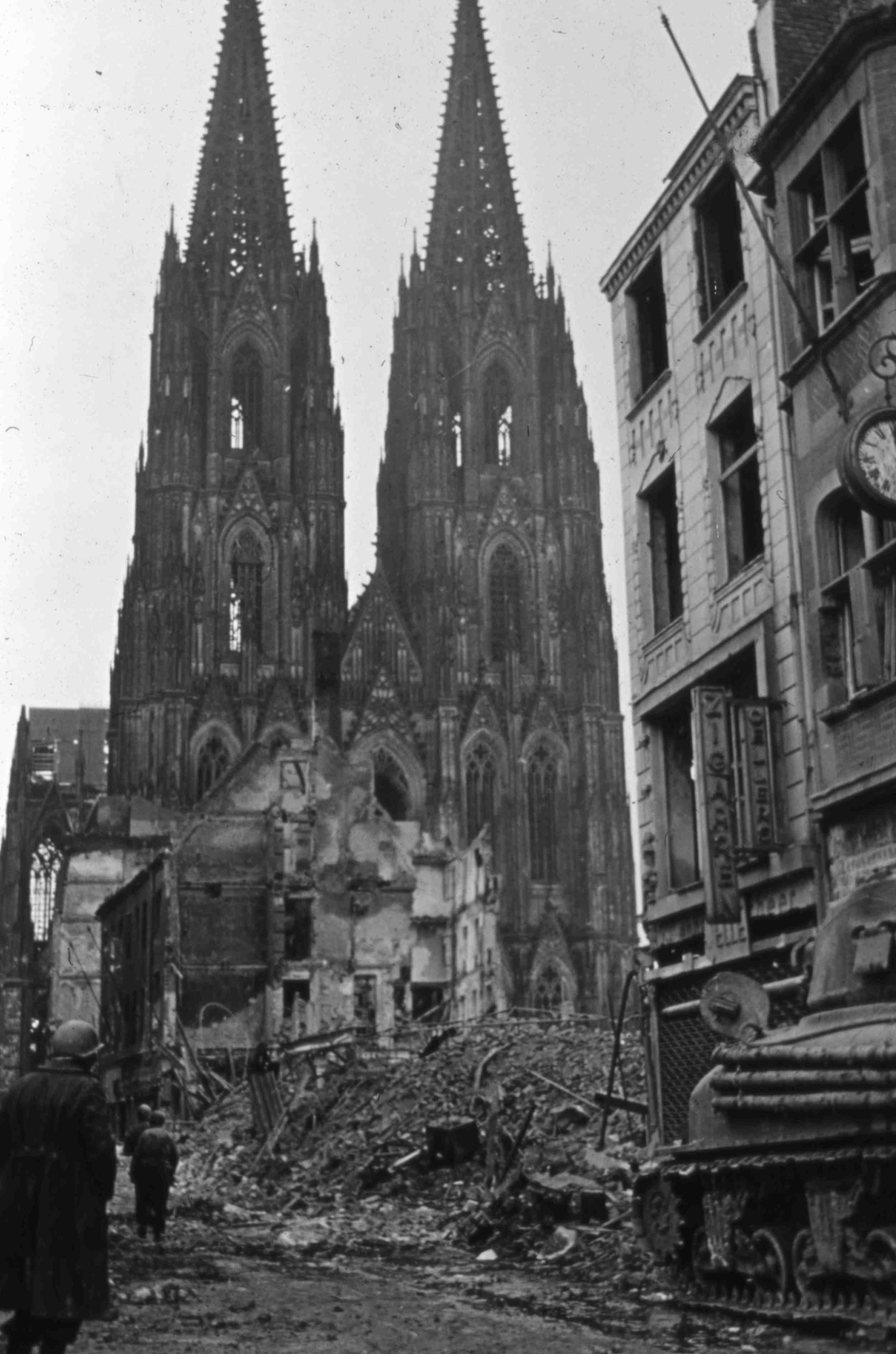 March 1945. The heavily damaged Dom Cathedral in Cologne, Germany.