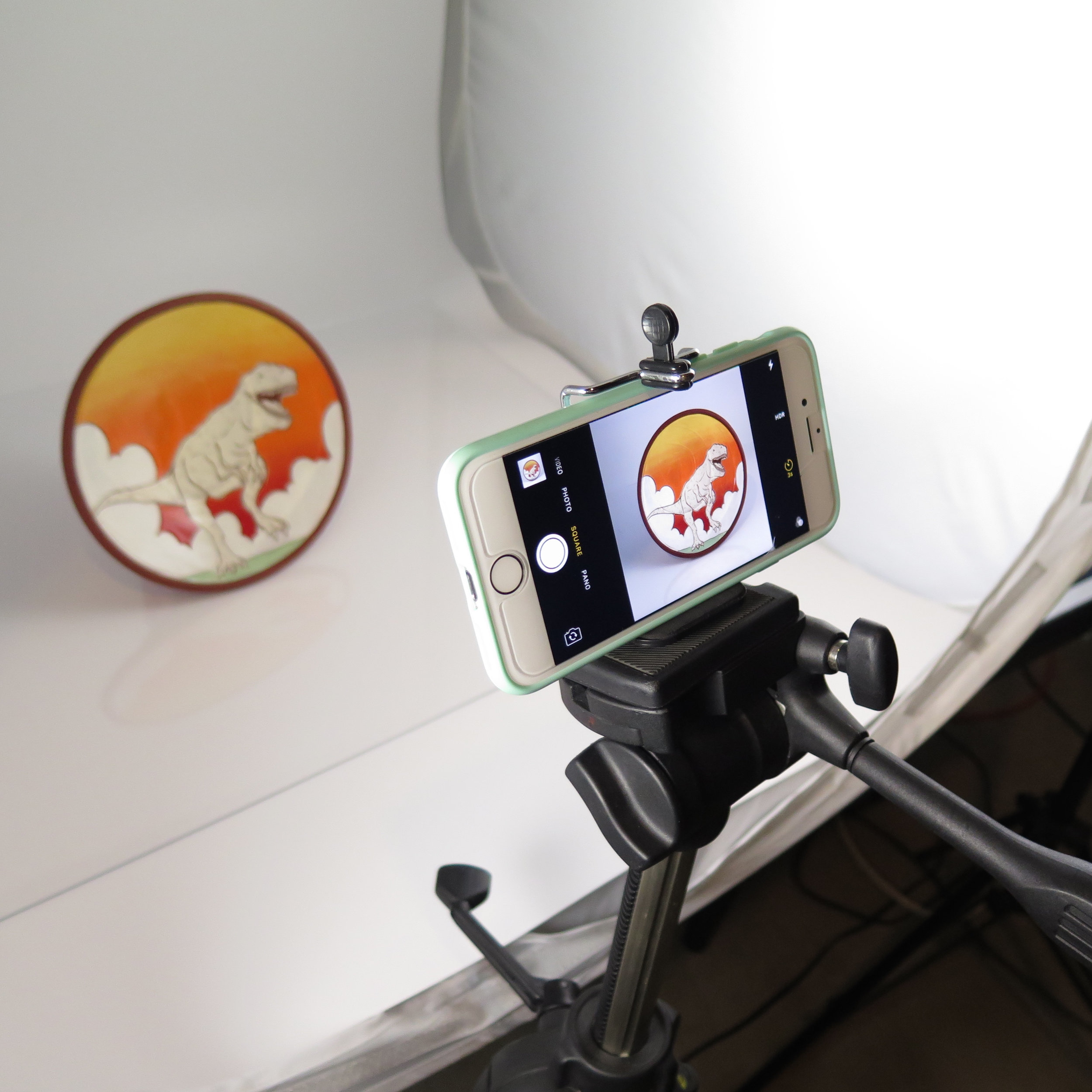 This phone holder connects to any tripod and cost $2 on amazon!