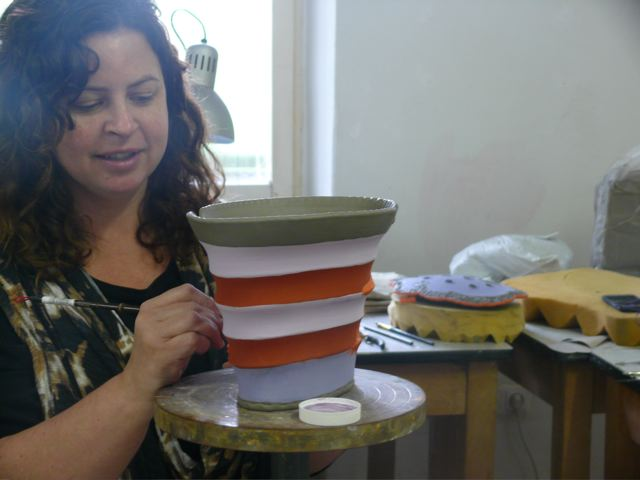 Kelli Sinner in her studio at Zentrum für Keramik in Berlin, Germany
