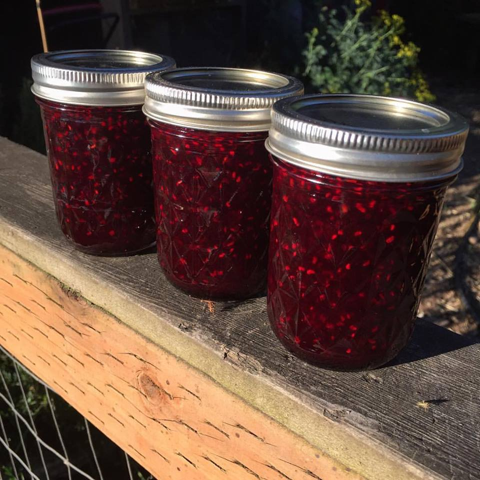 Jams made from the berries in her yard