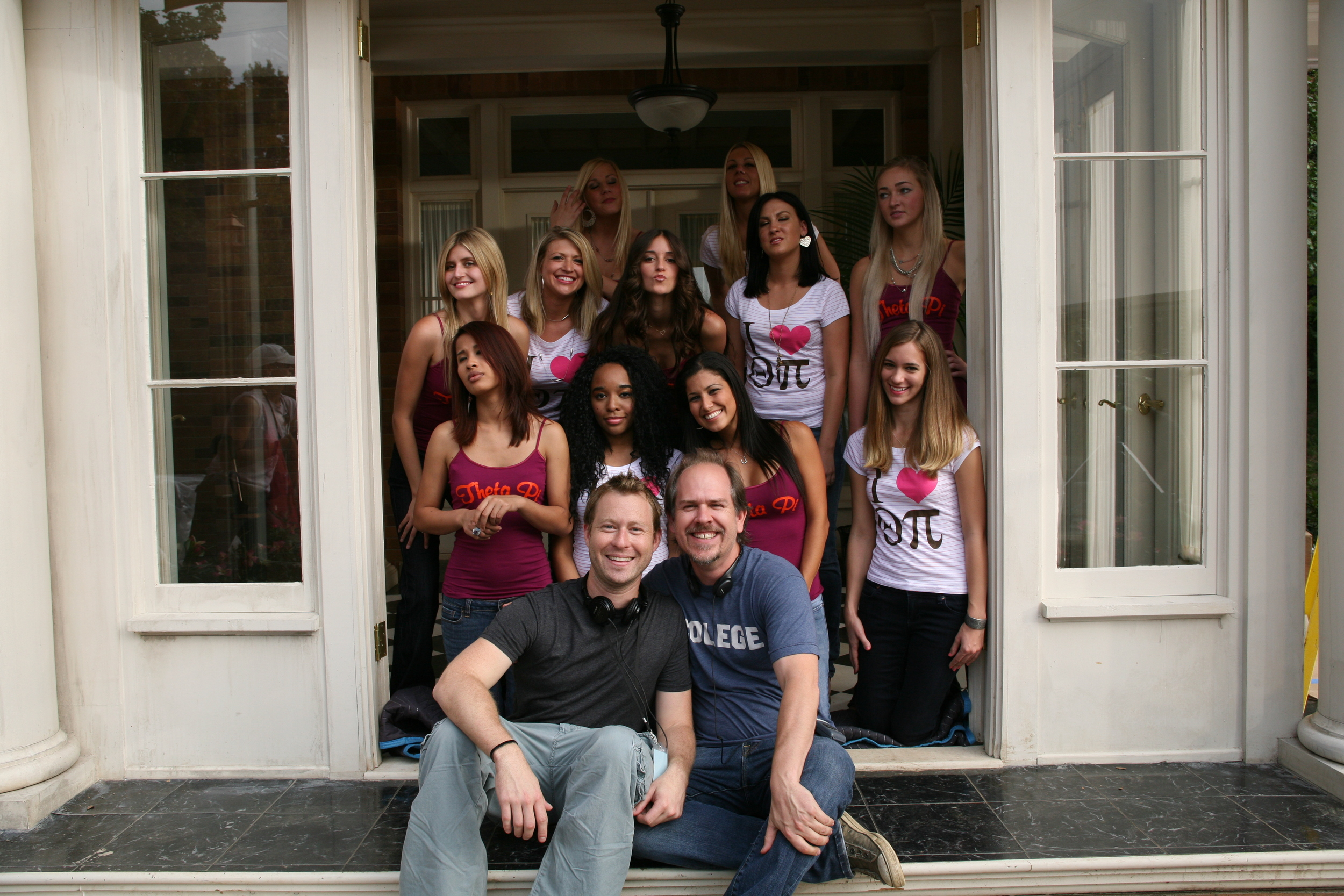 With Director Stewart Hendler and the girls of Theta Pi on Sorority Row