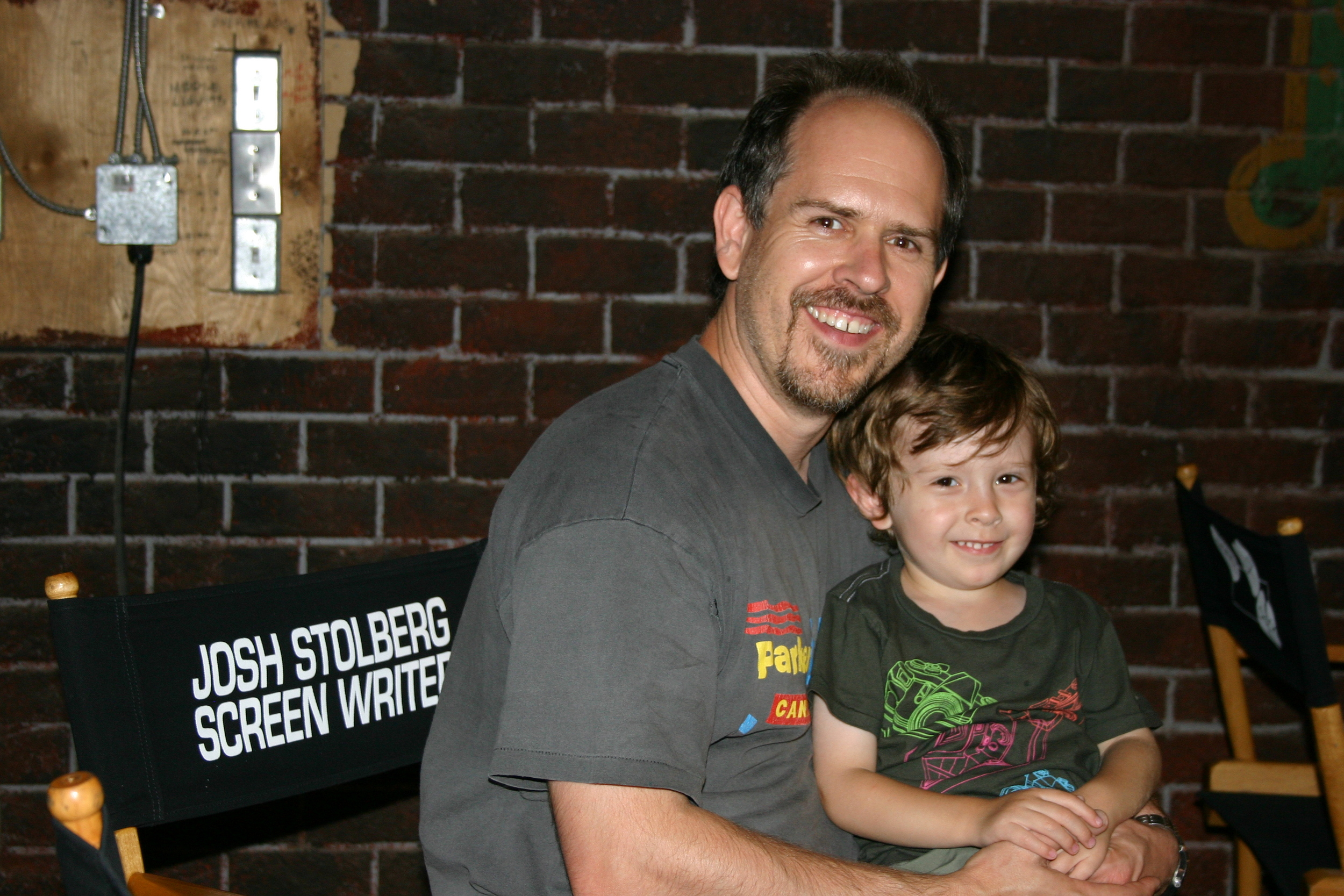 With son Asher on the set of Good Luck Chuck
