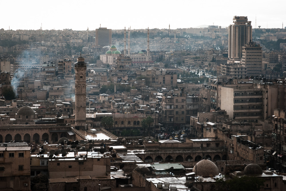 A view over the Umayyad Mosque, as seen from Aleppo's citadel, in 2009.