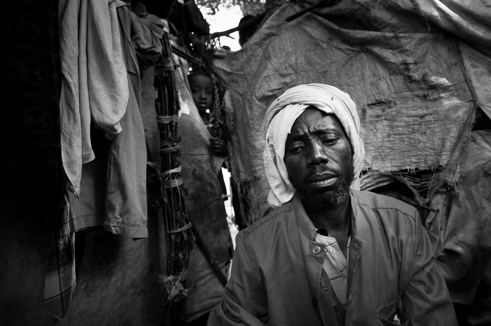 Sheikh Abdulahi Abdiyow Barkem from Buur in Somalia's Galguduud district, lost his entire herd of 37 cattle and 90 goats to the drought. Left without livelihood, he came to Mogadishu, despite the conflict, and is now living in an IDP camp in the city.