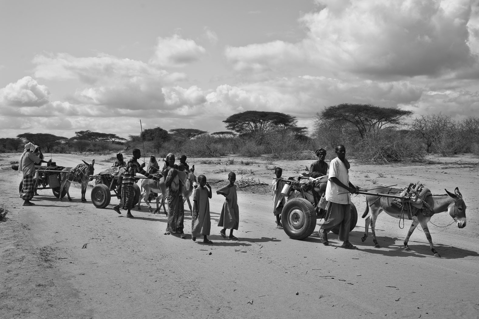 Three families walk the long, dusty road from the Kenyan border with Somalia near Liboi, on their way to the Dadaab refugee camp. They have been walking for over two weeks, and still have several days ahead of them.