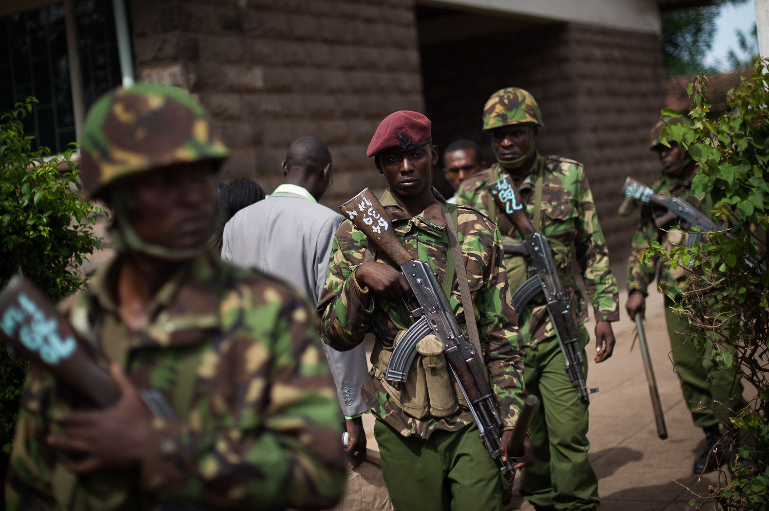 Around the country, a strong security presence was felt, with armed police and security forces patrolling trouble spots, and guarding voting and tallying centres.
