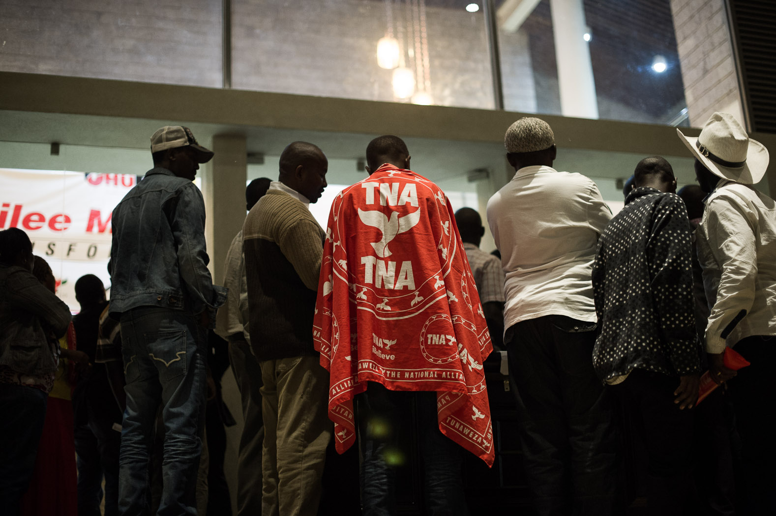 By the Friday night, four days after vote day, the majority of results had been announced, and it seemed likely that Uhuru Kenyatta would win an outright majority, forgoing the need for a second-round run-off. His supporters began congregating at the Jubilee headquarters, to which his party, The National Alliance (TNA) was part.