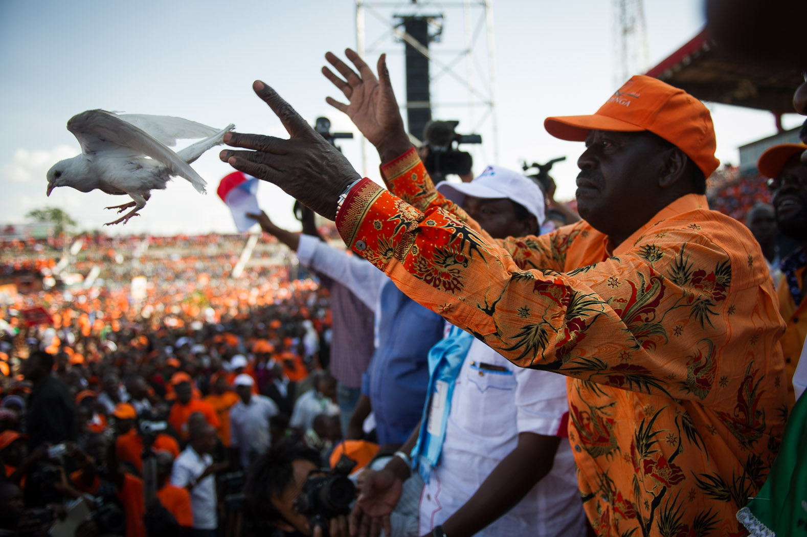 Following the electoral commission's announcement of Kenyatta's outright majority, thus making him President-Elect, opposition candidate Raila Odinga gave a press conference saying that his party would contest the result. He urged his supporters to have faith in the Supreme Court, and not take to the streets.  (Odinga pictured here in Nairobi during his final rally prior to voting.)