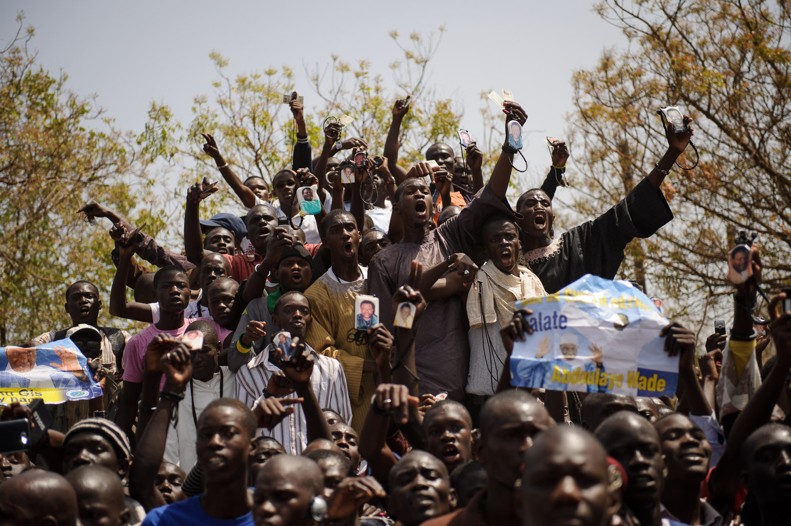 Wade's supporters turned out in large numbers to catch a glimpse of their president as he arrived to vote in the capital, Dakar.