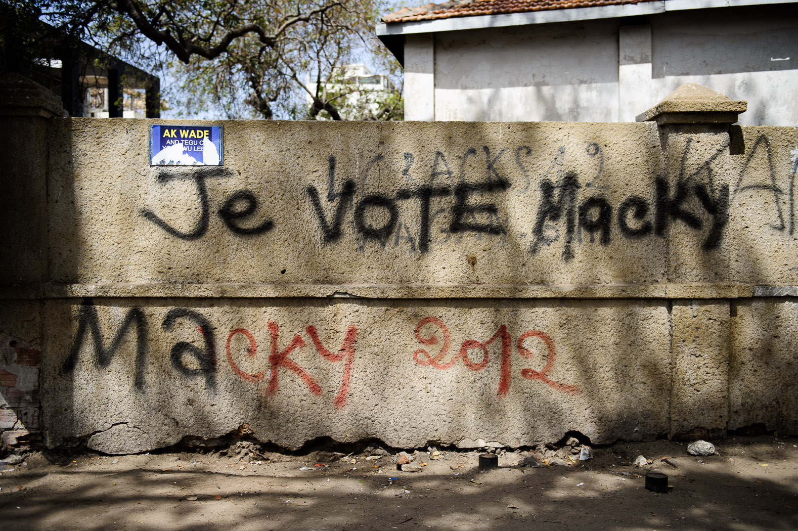 """Graffiti proclaiming """"I vote Macky"""" adorned many walls of the capital, proclaiming support for opposition candidate Sall."""