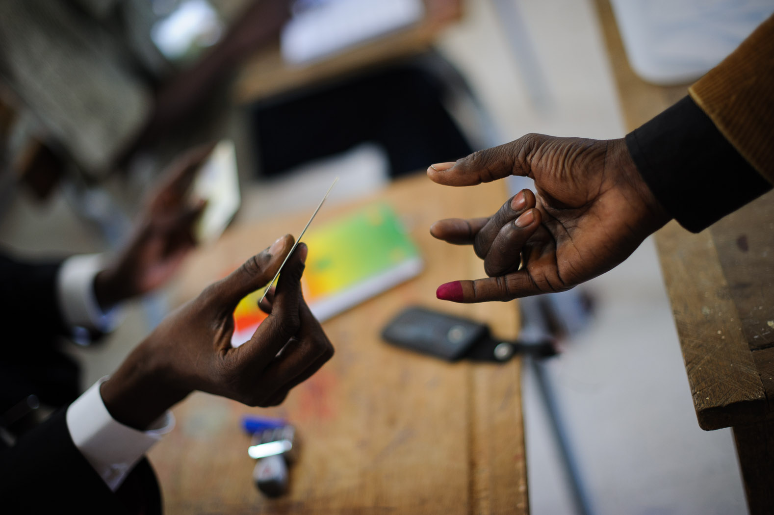 Those voting had their fingers stained with dye to prevent multiple votes.