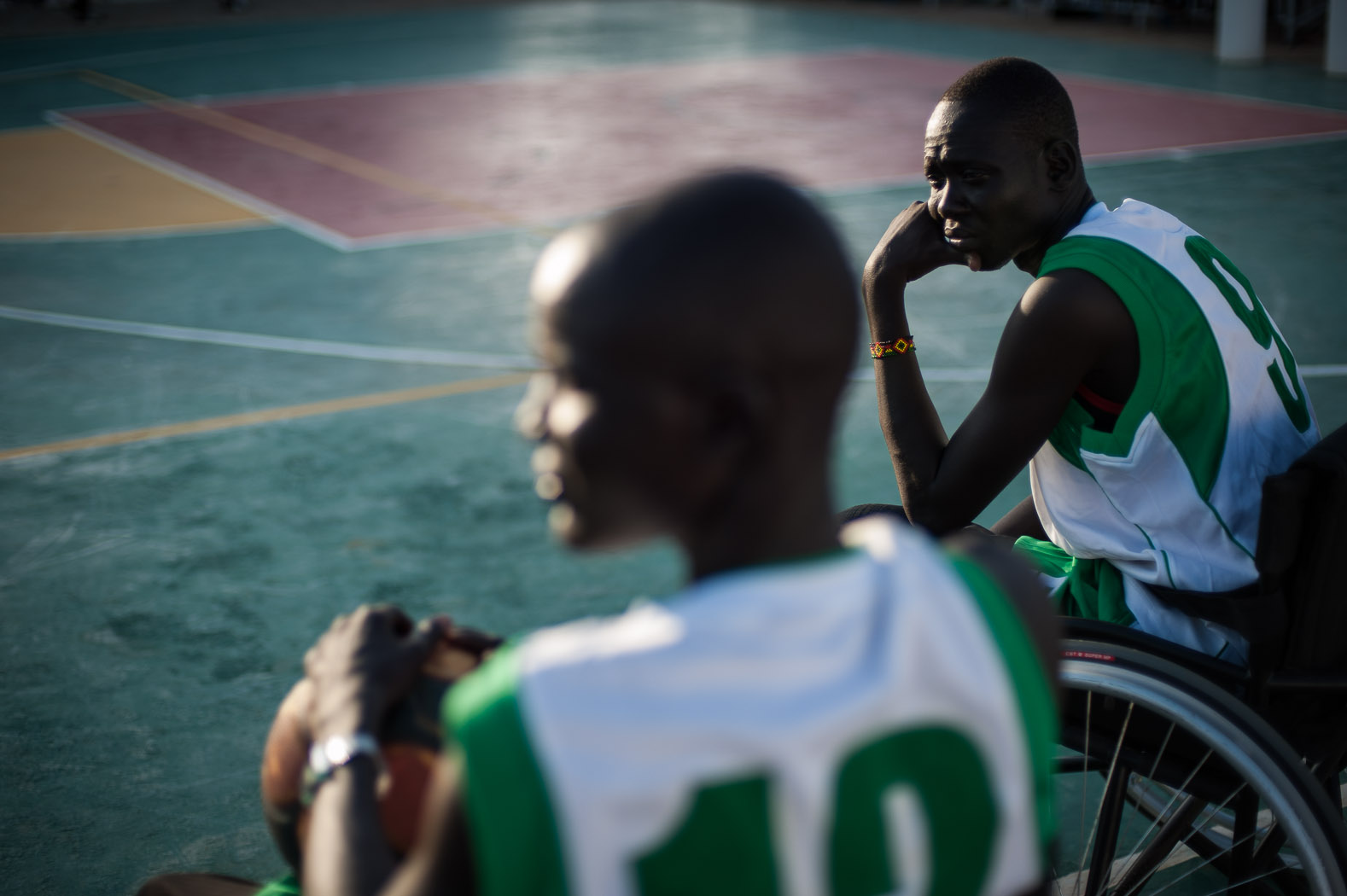 Basketball is unofficially the national sport of the country. Here, players who had lost limbs as a result of the war, get ready for a match coached by former NBA players, visiting South Sudan.