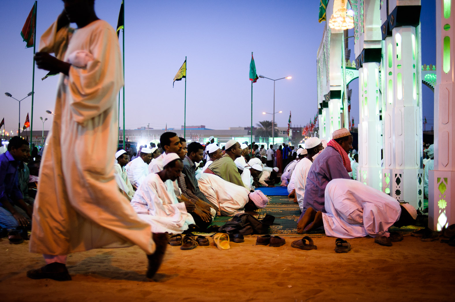 Muslims pray in Omdurman during the  Mawlid celebrations for the birthday of the Prophet Mohamed.