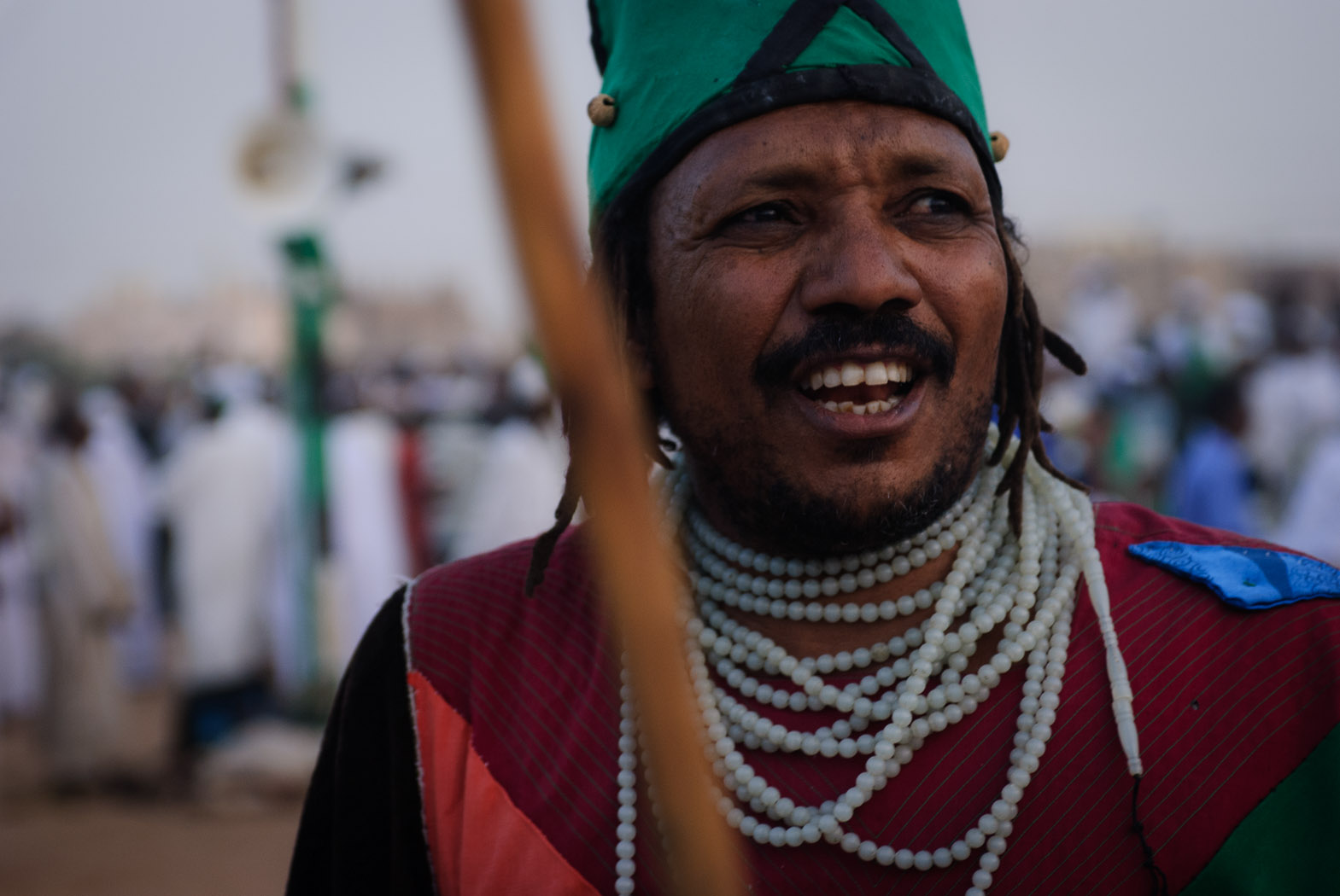 A sufi stands during the Friday  Dhikr  rituals at the Hamid al-Nil mosque in Omdurman.