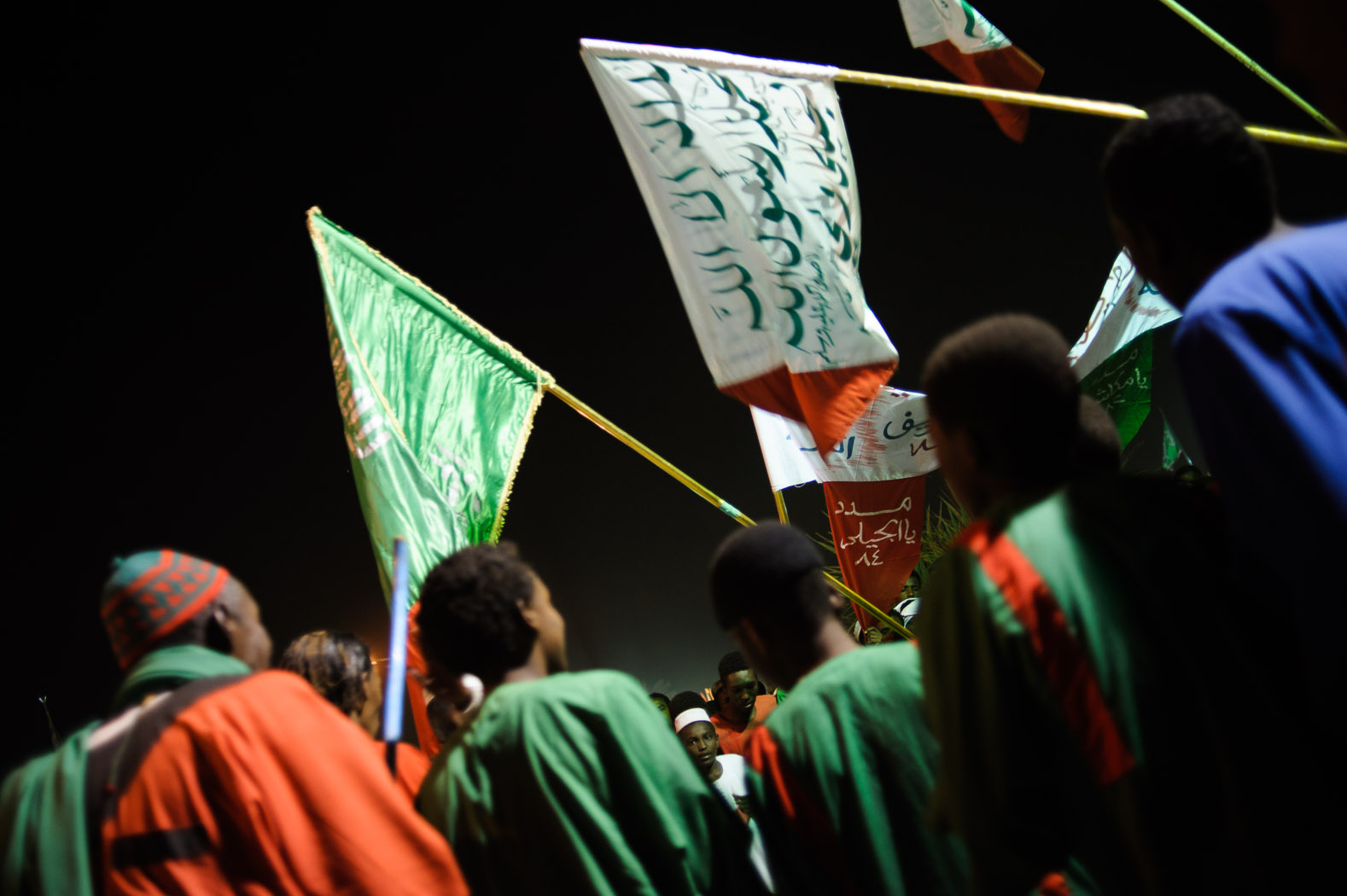 The flags of different groups of sufis fly during  Mawlid celebrations in Omdurman.