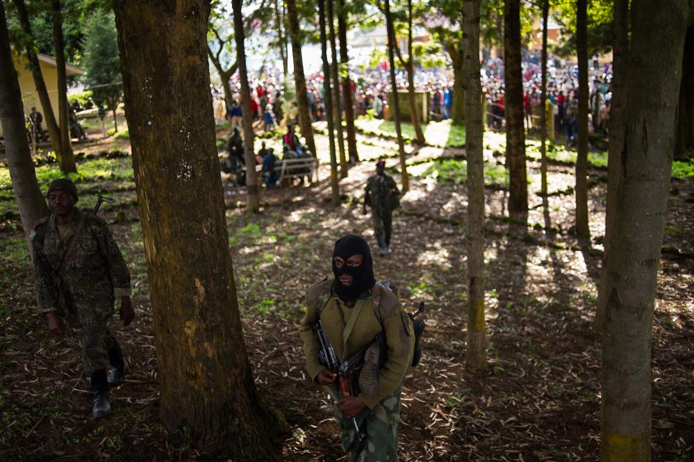 FARDC soldiers in the woodlands around Bunagana